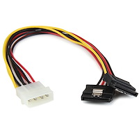 12in LP4 to 2x Latching SATA Power Y Cable Splitter Adapter - 4 Pin LP4 to Dual SATA