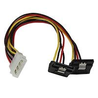 Adaptador Cable 30cm Divisor de 4 Pines LP4 a Doble SATA en Ángulo Derecho Cierre Seguridad