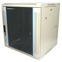 12U 19in Hinged Wall Mount Server Rack Cabinet w/ Vented Glass Door