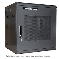 Refurbished 12U 19in Hinged Wall Mount Server Rack Cabinet w/ Steel Mesh Door