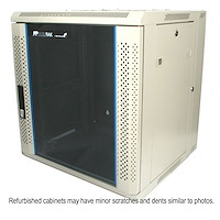 Refurbished 12U 19in Hinged Wall Mount Server Rack Cabinet w/ Vented Glass Door