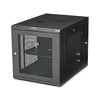 "12U 19"" Wall Mount Network Cabinet - 4 Post 24"" Deep Hinged Server Room Data Cabinet- Locking Computer Equipment Enclosure w/Shelf - Flexible Vented IT Rack - Pre-Assembled"