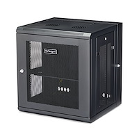 "12U 19"" Wall Mount Network Cabinet - 16"" Deep Hinged Locking IT Network Switch Depth Enclosure - Vented Computer Equipment Data Rack w/Shelf & Flexible Side Panels - Assembled"
