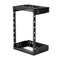"15U 19"" Wall Mount Network Rack - Adjustable Depth 12-20"" 2 Post Open Frame Server Room Rack for AV/Data/ IT Communication/Computer Equipment/Switch w/Cage Nuts & Screws"