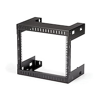 "8U 19"" Wall Mount Network Rack - 12"" Deep 2 Post Open Frame Server Room Rack for Data/AV/IT/Computer Equipment/Patch Panel with Cage Nuts & Screws 135lb Capacity, Black (RK812WALLO)"