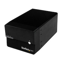 "USB 3.0/eSATA Dual 3.5"" SATA III Hard Drive External RAID Enclosure w/ UASP and Fan – Black"