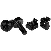 M6 x 12mm - Screws and Cage Nuts - 100 Pack, Black
