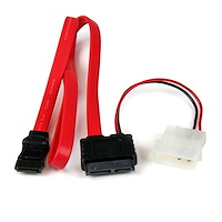 20in Slimline SATA to SATA with LP4 Power Cable Adapter