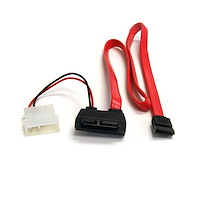 20in Right Angle Slimline SATA to SATA w/ LP4 Power Cable