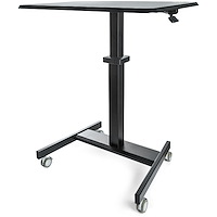 Mobile Standing Desk - Portable Sit Stand Ergonomic Height Adjustable Cart on Wheels - Rolling Computer/Laptop Workstation Table with Locking One-Touch Lift for Teacher/Student