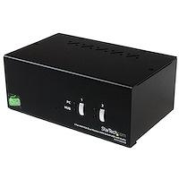 Switch Conmutador KVM  de 2 Puertos DVI VGA para 2 Monitores con USB y Audio