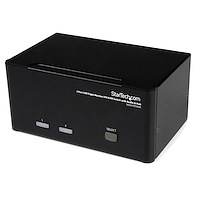 2 Port Dreifach Monitor DVI USB KVM Switch mit Audio und USB 2.0 Hub