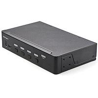 4 Port HDMI KVM Switch - Single Monitor 4K 60Hz Ultra HD HDR - Desktop HDMI 2.0 KVM Switch with 2 Port USB 3.0 Hub (5Gbps) and 4x USB 2.0 HID, Audio - Hotkey Switching - TAA