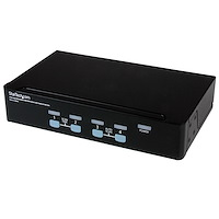 4 Port Rack Mountable USB KVM Switch with Audio & USB 2.0 Hub