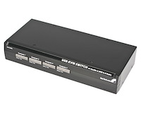 4 Port Steel USB KVM Switch with Audio and USB Hub