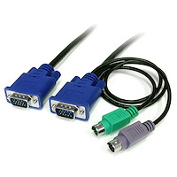 Cable KVM de 1,8m Ultra Delgado Todo en Uno VGA PS/2 PS2 HD15 - 6ft Pies  3 en 1