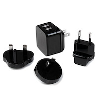 Dual-Port USB Wall Charger - International Travel - 17W/3.4A - Black