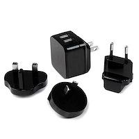 Caricatore da Parete a doppia porta x2 USB ad alta potenza ( 17W / 3.4 Amp ) con prese da viaggio (Internazionale)