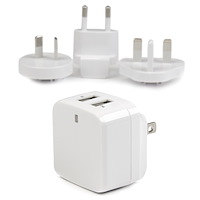 Dual-Port USB Wall Charger - International Travel - 17W/3.4A - White