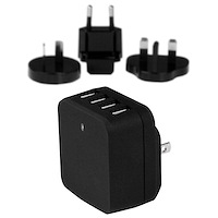 4-Poorts USB lader - internationale reislader - 34W/6.8A - zwart