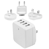 4-Port USB Wall Charger - International Travel - 34W/6.8A - White