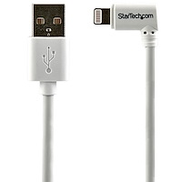 2 m USB till Lightning-kabel - Högervinklad iPhone/iPad/iPod-laddningskabel - 90 graders Lightning till USB-kabel - Apple MFi-certifierad - Vit