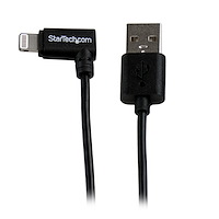 Cable Lightning de 8 Pin Acodado a la Derecha de 2m USB 2.0 para Apple iPod iPhone iPad - Negro