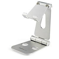 Phone and Tablet Stand - Foldable Universal Mobile Device Holder for Smartphones & Tablets - Adjustable Multi-Angle Ergonomic Cell Phone Stand for Desk - Portable - Silver