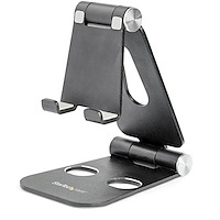 Phone and Tablet Stand - Foldable Universal Mobile Device Holder for Smartphones & Tablets - Adjustable Multi-Angle Ergonomic Cell Phone Stand for Desk - Portable - Black